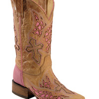 Corral Pink Wing & Cross Inlay Cowgirl Boots - Square Toe - Sheplers