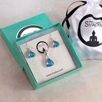 Trillion Blue Topaz Gemstone Necklace and Earrings Jewelry Set in Sterling Silver