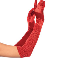 Leg Avenue Red Satin Ruched Opera Length Gloves - Unique Vintage - Prom dresses, retro dresses, retro swimsuits.
