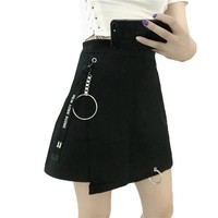 Style Ulzzang Mini Skirt Patchwork High Street Harajuku Skirt Female High Waist with Ribbon Cute A-Line Short Skirt for Girls