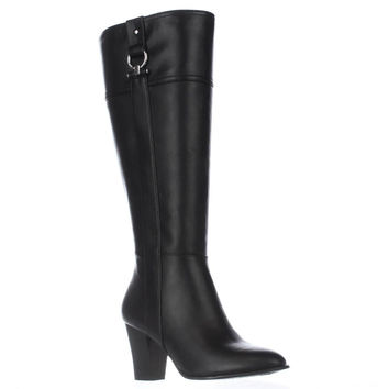 A35 Courtee Wide Calf Heeled Knee High Boots, Black, 6 US