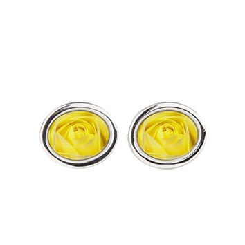 YELLOW ROSES OVAL CUFFLINKS
