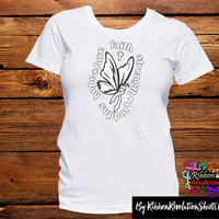 White Ribbon Butterfly Faith Shirts (Lung Cancer, Mesothelioma, SCID (Severe combined immunodeficiency), Scoliosis and other causes