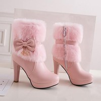New Women Pink Round Toe Chunky Bow Faux Fur Patchwork Casual Ankle Boots