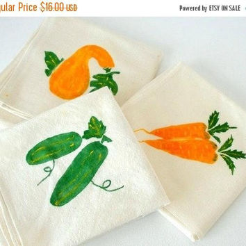 ON SALE SET Vintage Kitchen Towels Set, Cotton Dish Towels Set, Hand Painted Garden Vegetables, Orange Green & White.