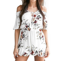 Off shoulder Flower Print Jumpsuit