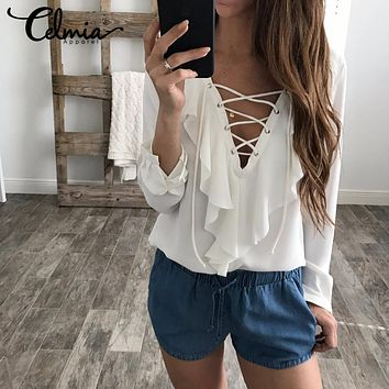 Sexy Women Chiffon Blouse  Lace Up V Neck Ruffles Long Sleeve Shirt Casual