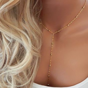 Lariat Necklace • Gold Y Necklace • Kylie Jenner • Gift for Her • Dainty Minimal Silver Beaded Lariat • Girlfriend Gift