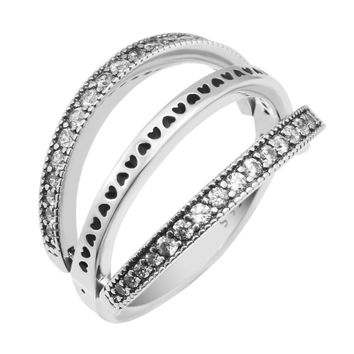 Trendy Original 100% Authentic 925 Sterling Silver Flipping Hearts Ring for Women Wedding Engagement Gift Fine Europe Jewelry