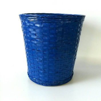 Vintage Wicker Basket Garbage Can Laundry Hamper Bathroom Blue Boys Bedroom Modern Atomic Trash Bin Receptacle Toy Storage Racecar Theme