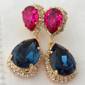 Navy blue and ruby pink fuchsia Chandelier earrings, Drop earrings, Dangle earrings, Bridal earrings, Swarovski earrings, Gold or silver
