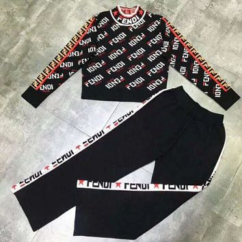 Fendi Autumn And Winter High Quality New Fashion More Letter Print String Mark Letter Print Two Piece Suit Long Sleeve Top Sweater And Pants Black