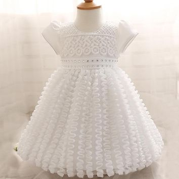 Baby Girl Dress Newborn White Christening Gown 1 Year Girl Baby Birthday Dress Infant Lace Big Bow Party Dress Baptism Dress