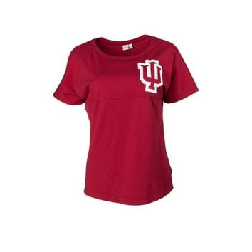 Red Official NCAA University Of Indiana Hoosiers Iu Women's Short Sleeve Spirit Wear Jersey T-Shirt