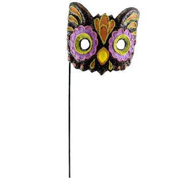 Halloween GLITTERED MASK Paper Mache Cat Bird HC322029 OWL