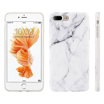 """iPhone 8 Plus / 7 Plus Case, Insten [Marble Pattern] Ultra Slim Lightwight Soft TPU Rubber Candy Skin Anti Slip Case Cover For Apple iPhone 8 Plus / 7 Plus 2016 (5.5""""), White"""