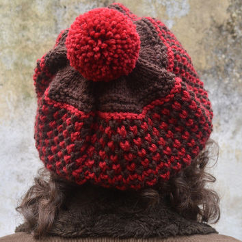 Knitted Women Hat Beret in Brown/Carmine Red with PomPom,Knit Woolen Beret,Knit Warm Winter Hat,Knit Gifts for her,Knit Women Accessories