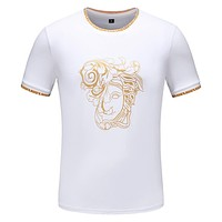 Versace 2019 new men's personality beauty head print round neck half sleeve T-shirt white