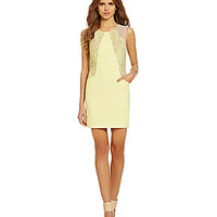 Gianni Bini Ainsley Mesh Lace Sheath Dress - Lemon Drop