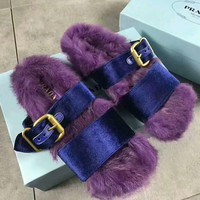 PRADA Rabbit Hair Casual Sandal Slipper Shoes Flip Purple I-AGG-CZDL One-nice™