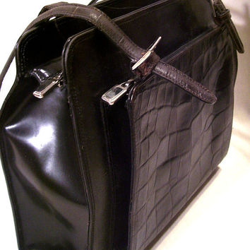Harold Powell Made In Italy Black Mock Croc Leather Purse Bag Vintage Classic Sexy Romance Satchel