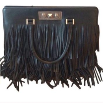 YSL trois leather bag with fringe