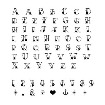 Alphabet & Numbers Tattoo Set