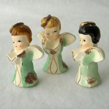 Vintage Mini Porcelain Child Angel Figurines, Miniature Christmas Ornaments, Made in Japan