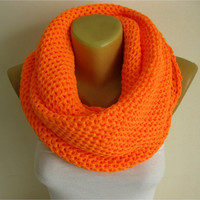 ON SALE - ORANGE Scarf-Chunky Knit Scarf , crochet infinity scarf, , crochet infinity scarves,christmas gift- for her -Fashion accessories