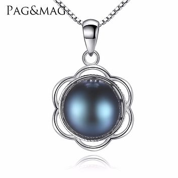 PAG&MAG Brand Luxury Black Color Pearl Pendant 925 Sterling Silver Box Chain Women Necklace Popular Jewelry For Party Banquet