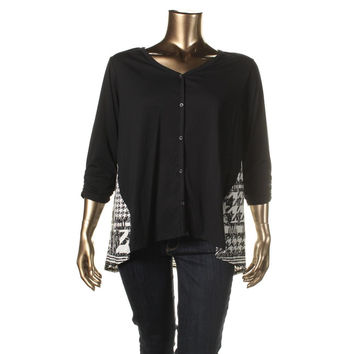 Style & Co. Womens Plus Knit Printed Cardigan Top