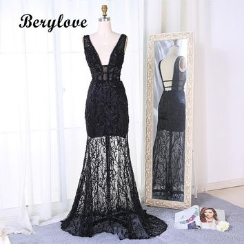 BeryLove SEXY Black Lace Mermaid Prom Dresses 2018 Deep V Neck Backless Sequined Evening Dresses Style Party Gowns Dress