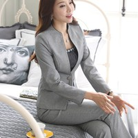 Novelty Grey Formal Uniform Design Professional Business Women Work Suits With Jackets And Pants