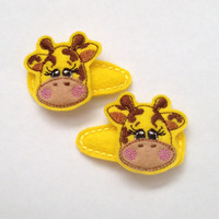 Giraffe Felt snap clip barrette set set of 2