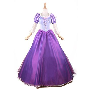Tangled Princess Rapunzel Costume Fairytale Adult Fancy Dress Anime Cosplay Costume Princess Dress Halloween Party Ball Gown