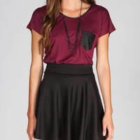 Chloe K Faux Leather Pocket Womens Tee Burgundy  In Sizes