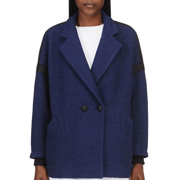 Band Of Outsiders Navy Boiled Wool And Mohair Coat
