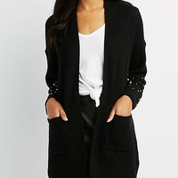 Open Front Pearl Embellished Cardigan | Charlotte Russe