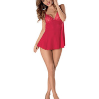 Mesh & Lace Babydoll W-underwire Cups, Ajustable Straps & G-string Red 3x