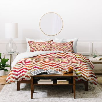 Bianca Green Floral Chevron Pink Duvet Cover