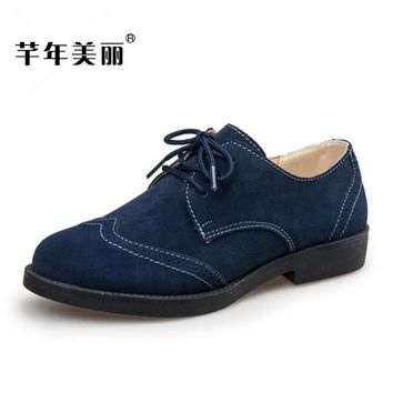 2018 Spring and Autumn Scrub leather flat with female Oxford shoes casual shoes Green, blue, brown Women Shoes Free shipping