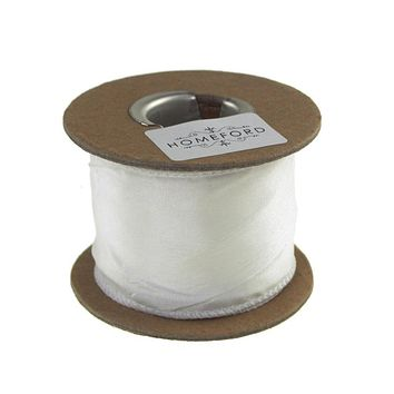 Crinkled Satin Silk Wired Edge Ribbon, 2-Inch, 9 Yards, White