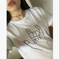 Fashion Casual Orchid Finger Print Round Neck Short Sleeve T-shirt Tops
