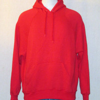 Vintage 80s BLANK HOODIE Bright Red Plain Medium Soft Sweater Jumper 50/50 Hooded Sweatshirt