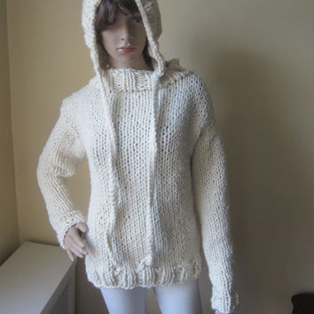 KNIT SWEATER, Chunky knit sweater, womens sweater, knit sweater, sweater, Winter fashion, boho chic, Winter white, wool blend sweater