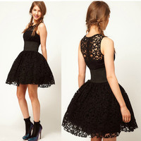 Womens Queen Princess Black Tutu Party Tunic Lace Wedding Prom Cocktail Dress