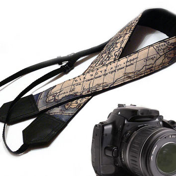 DSLR / SLR Camera Strap. Vintage World Map Camera Strap. For Sony, canon, nikon, panasonic, fuji and other cameras.