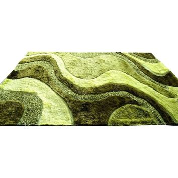 Three Dimensional 3D Modern Curved Viscose Solid Lime Green Apple Soft Shaggy Carpet Rug