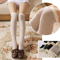 NEW Women JK School Girls Lace Knit Cotton Over Knee Tights High Socks Stockings