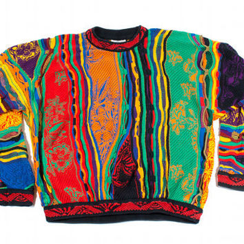 VTG Authentic COOGI Sweater Cosby Hipster Crazy Rainbow Colorful Florals Unisex 80s 90s